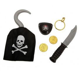 Set de Pirata: Garfio, cuchillo, monedas, pendiente y parche