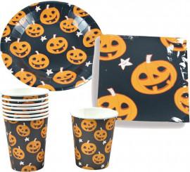 Set Halloween Calabaza (6 Platos, 6 Vasos Y 6 Servilletas)