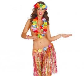 Set Hawaiano de cinta, collar, sujetador y falda