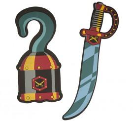 Set Infantil Pirata de EVA: Espada 50 cm y Garfio 36 cm