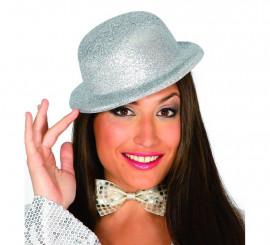 Sombrero Bombín escarcha plateado
