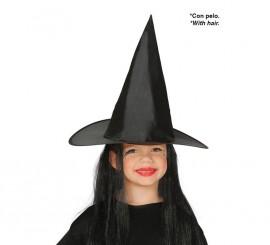 Sombrero de Bruja con Pelo Infantil