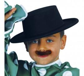 Sombrero Cordobés flocado negro de niños