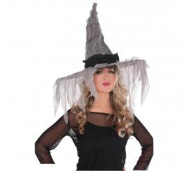 Sombrero de bruja con velo a jirones de 48 cm