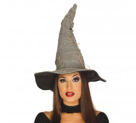 Sombrero de Bruja gris con cuerdas