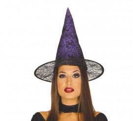 Sombrero de Bruja lila con telarañas y arañas