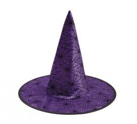 Sombrero de Bruja morado con Arañas 58 cm