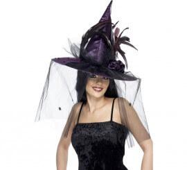 Sombrero de Bruja Morado con plumas y velo