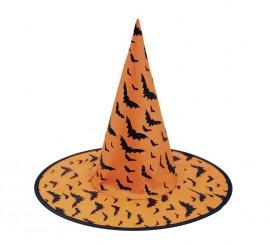 Sombrero de Bruja naranja con Murciélagos 58 cm