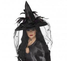 Sombrero de Bruja Negro con plumas y velo