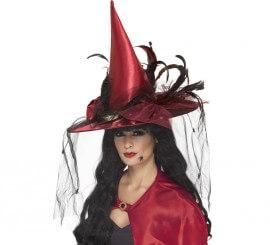 Sombrero de Bruja Rojo con plumas y velo