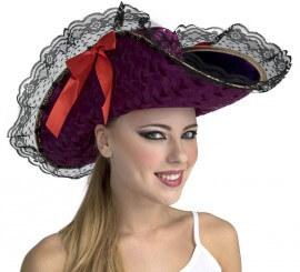 Sombrero de Capitana Pirata Morado con Lazo. Talla. Universal Adulto cc4e497d5b9