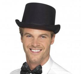 Sombrero de copa acabado satinado Negro. Talla. Universal Adulto e5ed72a52a8