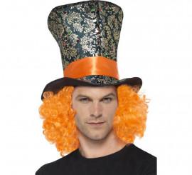 Sombrero de copa con pelo naranja incorporado