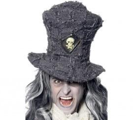 Sombrero de copa Gris con insignia de calavera
