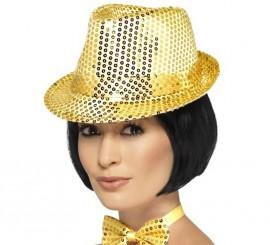 Sombrero de fieltro con lentejuelas Dorado