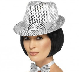 Sombrero de fieltro con lentejuelas Plateado