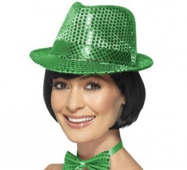 Sombrero de fieltro con lentejuelas Verde