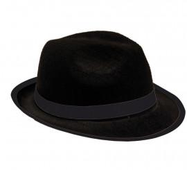 Sombrero de Gánster de fieltro negro