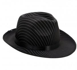 Sombrero de Gánster negro con rayas blancas