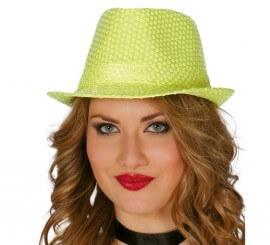 Sombrero de lentejuelas color amarillo