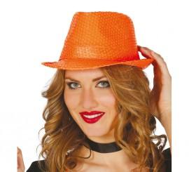 Sombrero de lentejuelas color naranja