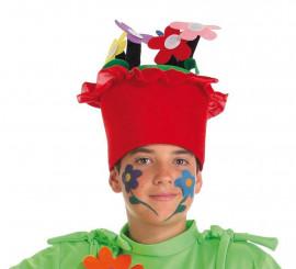 Sombrero de Maceta con flores infantil