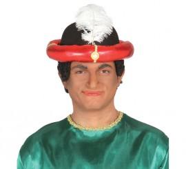 Sombrero de Marajá o Paje Real con pluma blanca