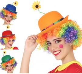 Sombrero de Payaso con Flor en 4 colores surtidos