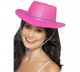 Sombrero de Vaquera con brillantina Rosa neón. Talla. Universal Adulto 144e7a1616c