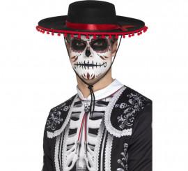 Sombrero del Día de muertos Negro y rojo