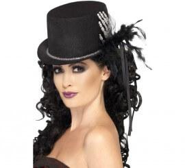 Sombrero Negro con huesos, plumas y lazos