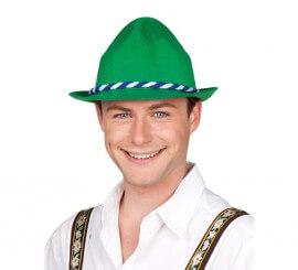 Sombrero o Gorro de Tirolés verde con cinta