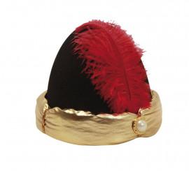 Sombrero o Turbante de Paje con pluma de 57 cm