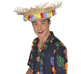 Sombrero playero de paja Hawaiano con flores