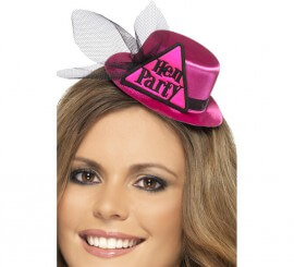 Sombrero Rosa con gancho y velo Hen Party (Fiesta de Despedida)