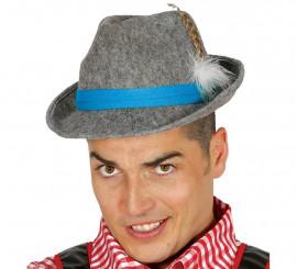 Sombrero de Tirolés gris con cinta azul