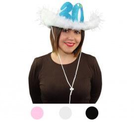 Sombrero Vaquero en varios colores con Marabú y número 30