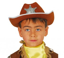 Sombrero Vaquero fieltro Sheriff infantil marrón