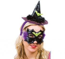 Sombrero y máscara de Bruja negra-morada