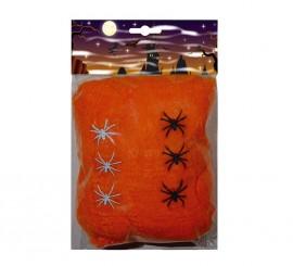Telaraña de 100 gr naranja con 6 arañas