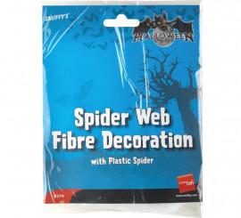 Telaraña de fibra Blanca con araña de plástico