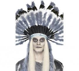 Tocado estilo indio Ghost Town con plumas grises