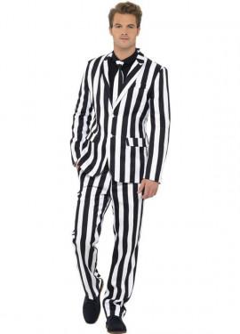 Déguisement Costume Cravate Rayé Blanc et Noir pour homme plusieurs tailles