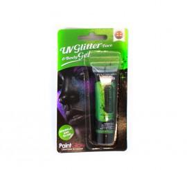 Tubo de maquillaje glitter verde menta de 10 ml.