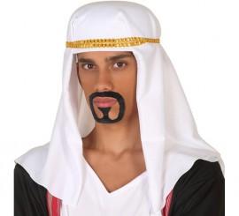 Turbante Árabe Blanco y Dorada