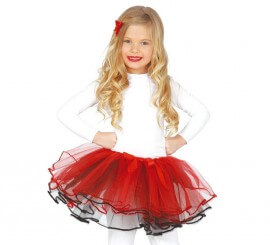 Tutú color rojo y negro infantil