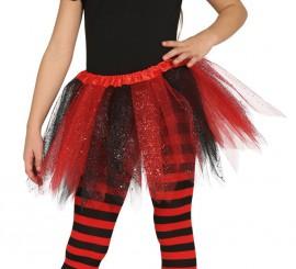 Tutu con Brillantes Rojo y Negro para niñas
