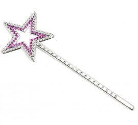 Varita pequeña con Estrella Rosa de 23 cm