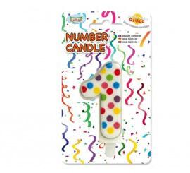 Vela Puntitos de colores con el número 1.